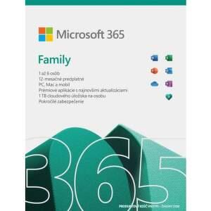 Microsoft 365 Family SK 2021 (1 ROK, 6 UŽÍVATEĽOV, 6x1TB CLOUD)