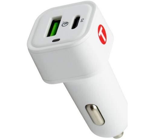 Mobilnet 2x USB nabíjačka do auta 38W 3A PD/QC 3.0 biela