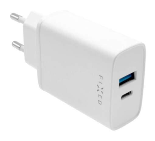 Fixed sieťová nabíjačka USB-A/USB-C 20W biela