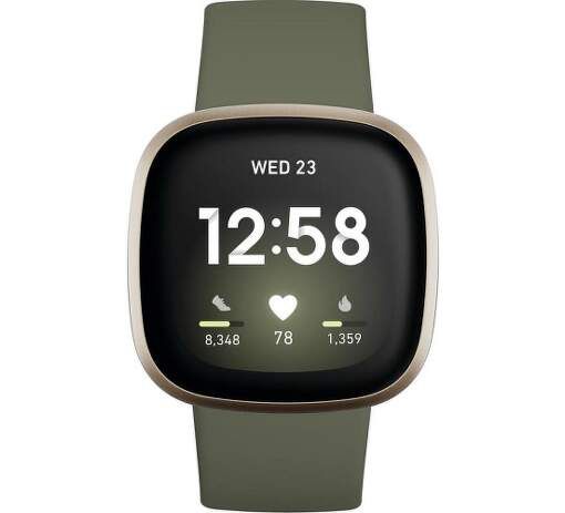 Fitbit Versa 3 zlaté s khaki remienkom