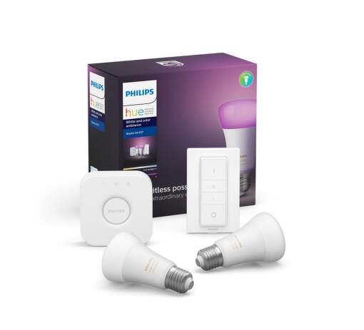 Philips Hue White and Color ambiance 9W E27 malý starter kit