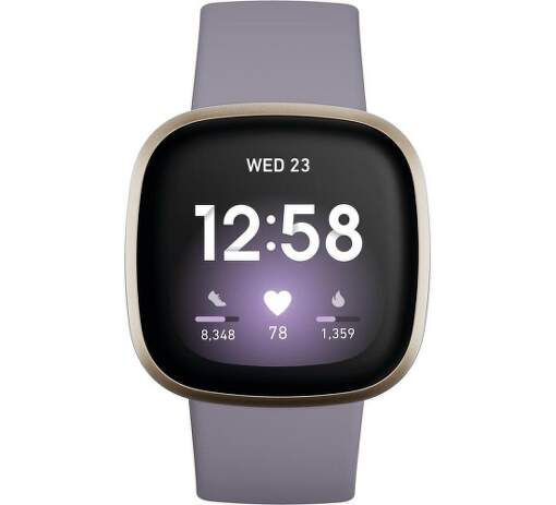 Fitbit Versa 3 zlaté s fialovým remienkom