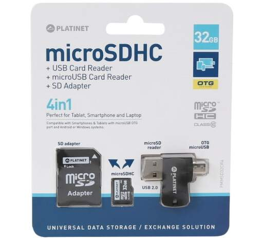 Platinet 4-in-1 microSDHC 32GB + card reader + otg + adapter